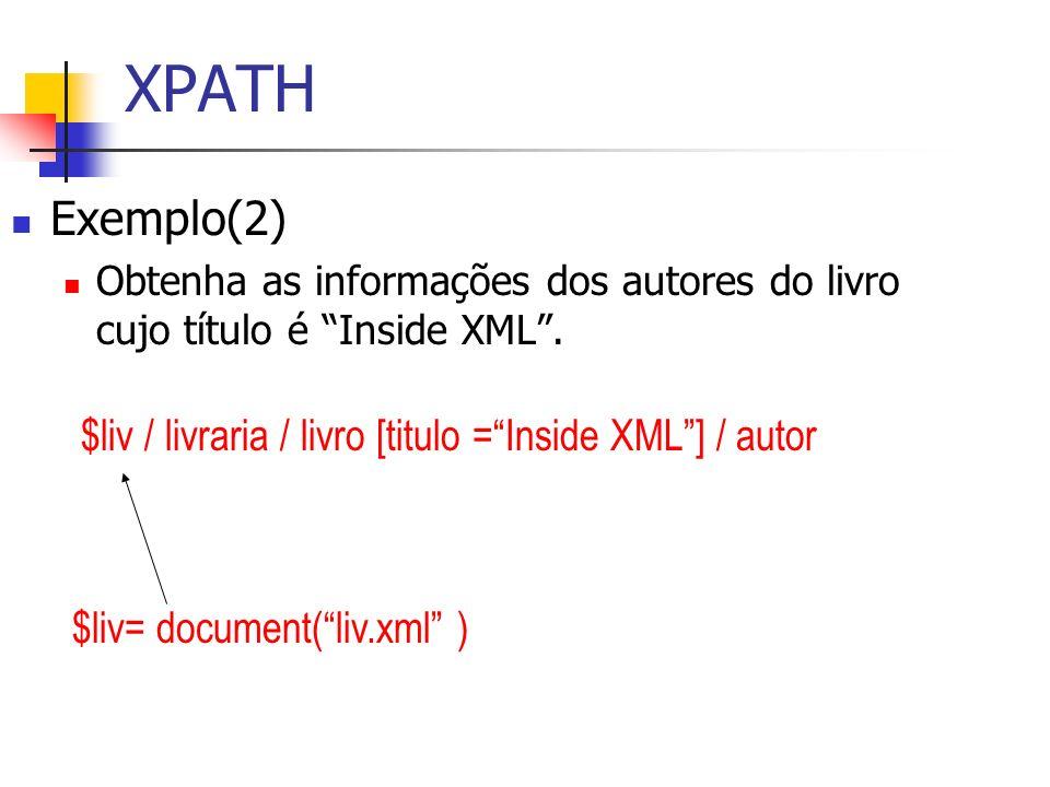 XPATH Exemplo(2) Obtenha as informações dos autores do livro cujo título é Inside XML. $liv / livraria / livro [titulo =Inside XML] / autor $liv= docu