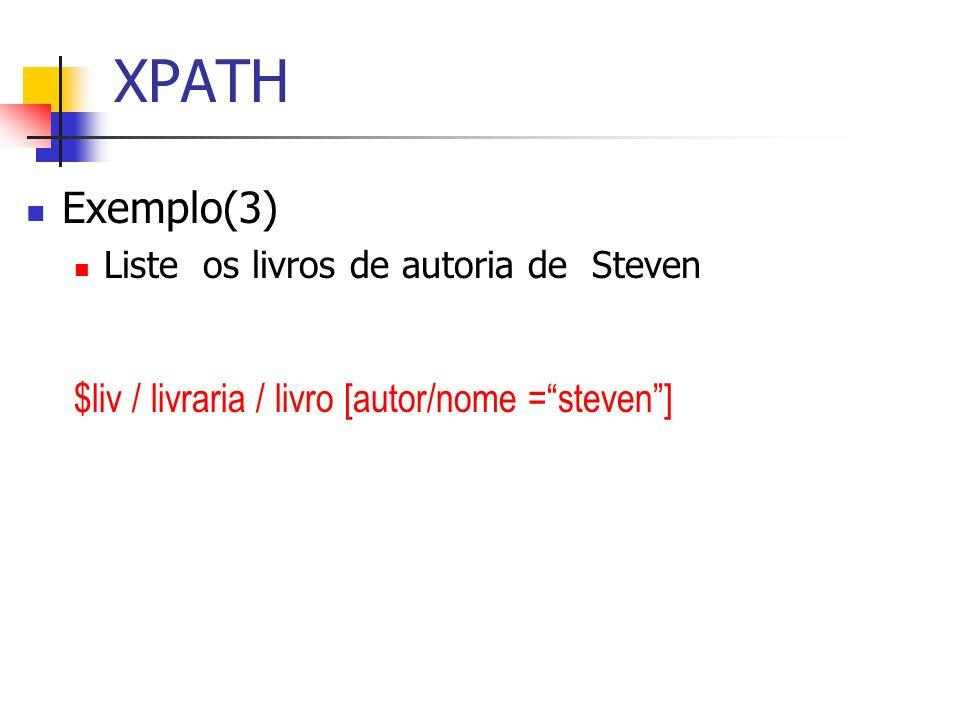 XPATH Exemplo(3) Liste os livros de autoria de Steven $liv / livraria / livro [autor/nome =steven]