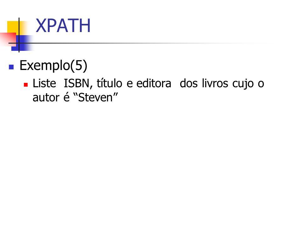 XPATH Exemplo(5) Liste ISBN, título e editora dos livros cujo o autor é Steven