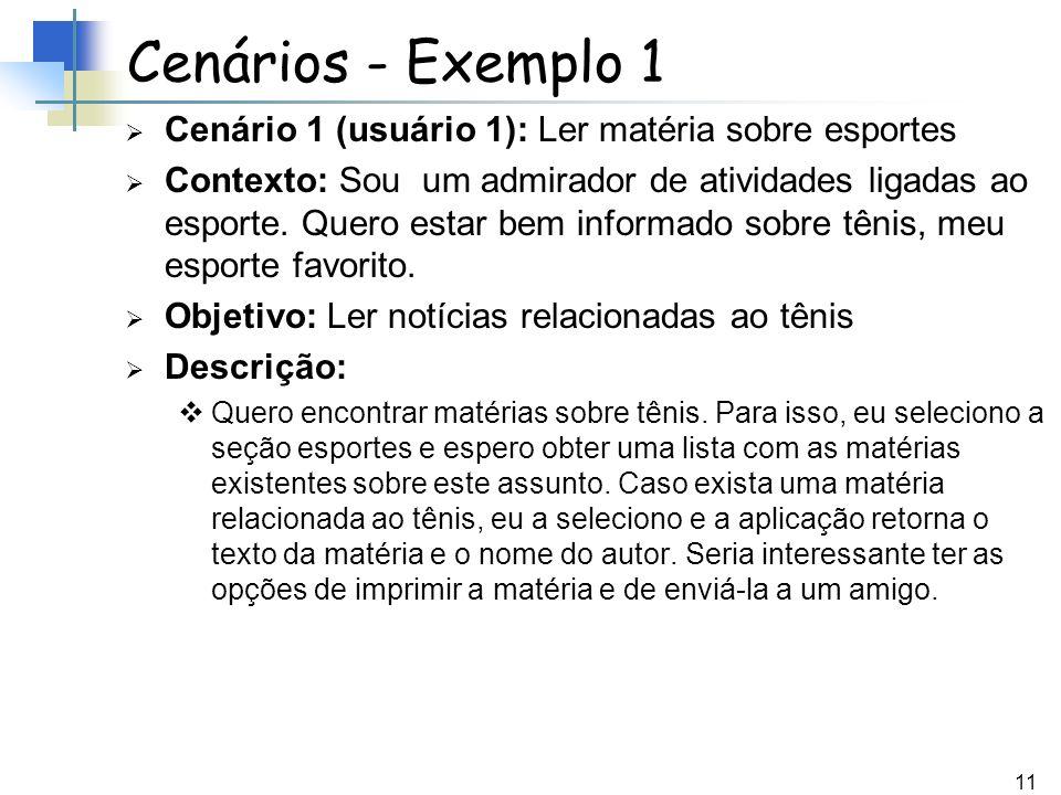 11 Cenários - Exemplo 1 Cenário 1 (usuário 1): Ler matéria sobre esportes Contexto: Sou um admirador de atividades ligadas ao esporte. Quero estar bem