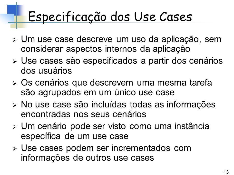 13 Especificação dos Use Cases Um use case descreve um uso da aplicação, sem considerar aspectos internos da aplicação Use cases são especificados a p