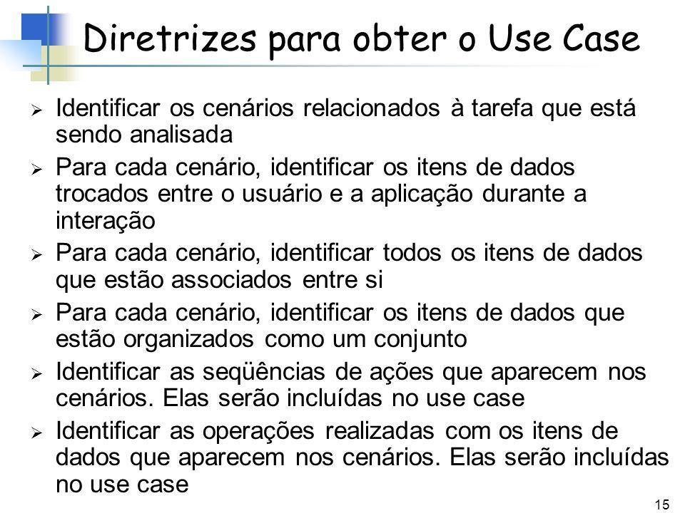 15 Diretrizes para obter o Use Case Identificar os cenários relacionados à tarefa que está sendo analisada Para cada cenário, identificar os itens de