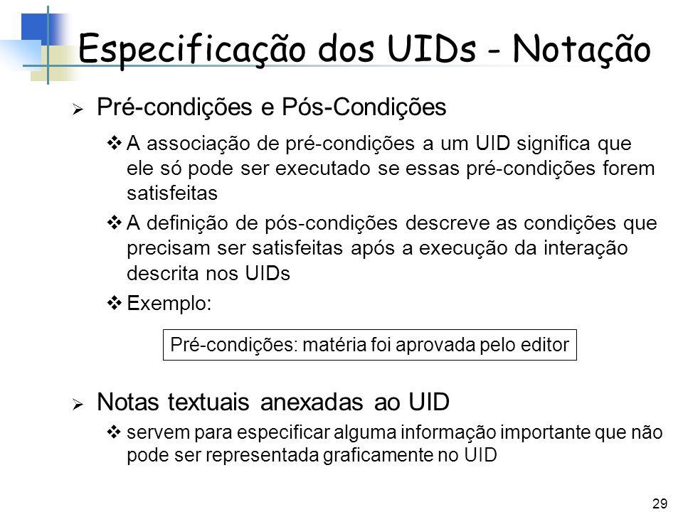 29 Pré-condições e Pós-Condições A associação de pré-condições a um UID significa que ele só pode ser executado se essas pré-condições forem satisfeit