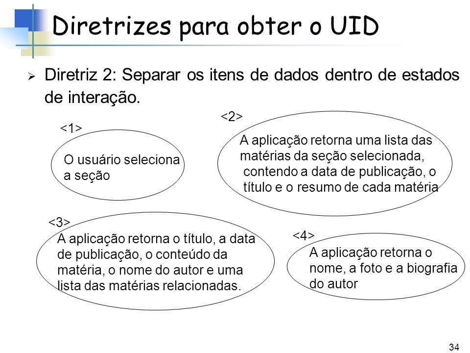 34 Diretriz 2: Separar os itens de dados dentro de estados de interação. Diretrizes para obter o UID O usuário seleciona a seção A aplicação retorna u