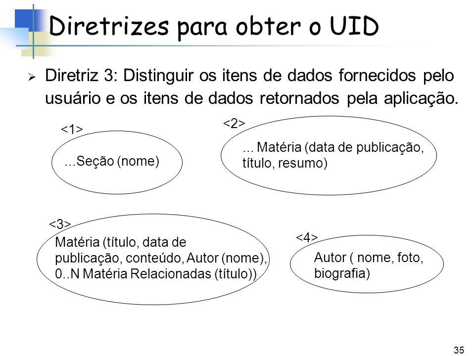 35 Diretriz 3: Distinguir os itens de dados fornecidos pelo usuário e os itens de dados retornados pela aplicação. Diretrizes para obter o UID...Seção