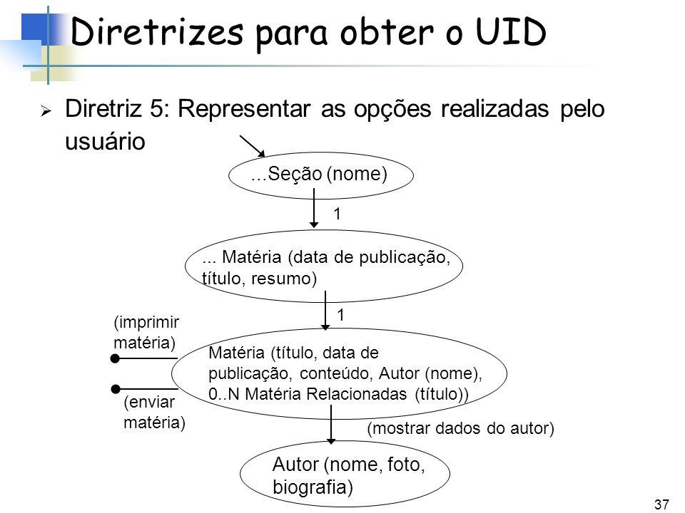 37 Diretriz 5: Representar as opções realizadas pelo usuário Diretrizes para obter o UID...Seção (nome)... Matéria (data de publicação, título, resumo