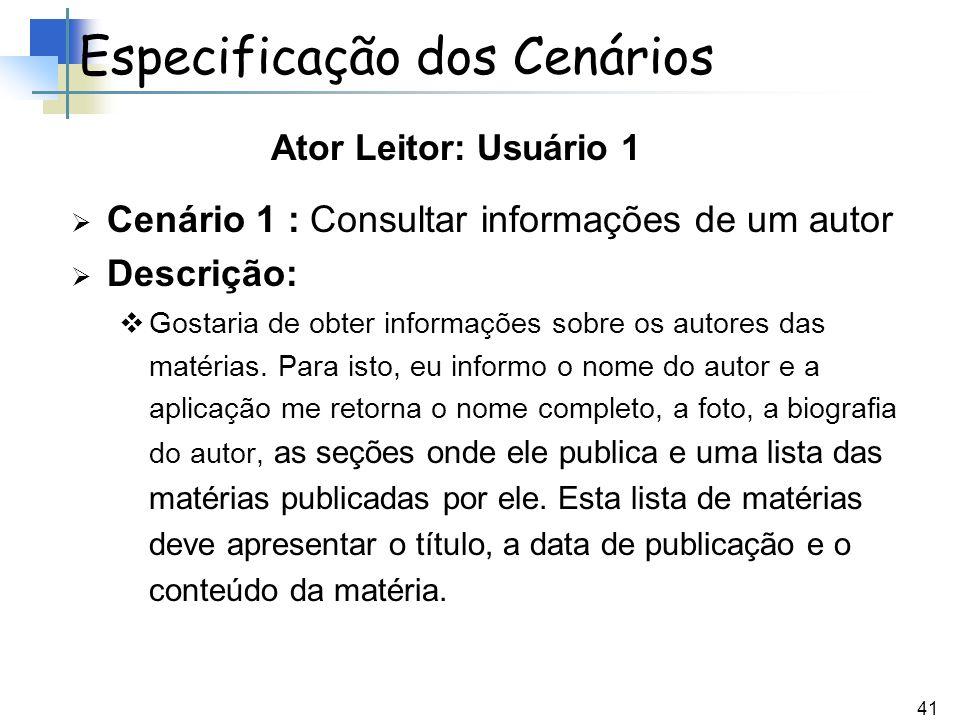 41 Cenário 1 : Consultar informações de um autor Descrição: Gostaria de obter informações sobre os autores das matérias. Para isto, eu informo o nome