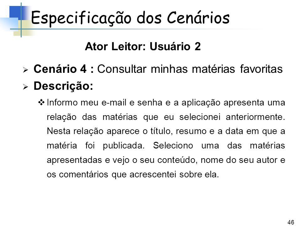 46 Cenário 4 : Consultar minhas matérias favoritas Descrição: Informo meu e-mail e senha e a aplicação apresenta uma relação das matérias que eu selec
