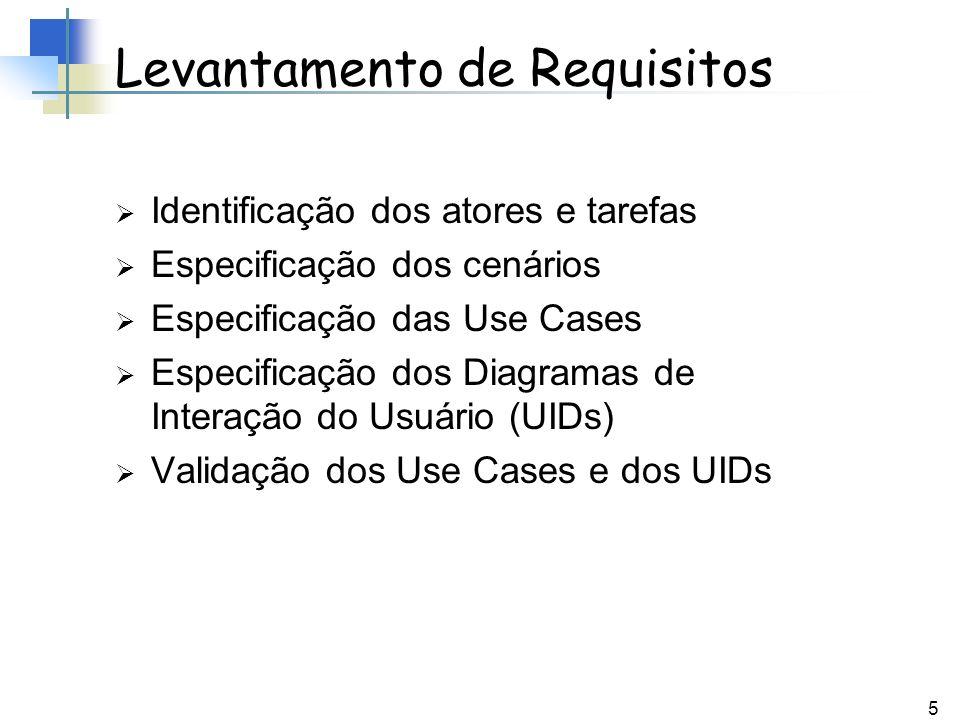 5 Levantamento de Requisitos Identificação dos atores e tarefas Especificação dos cenários Especificação das Use Cases Especificação dos Diagramas de