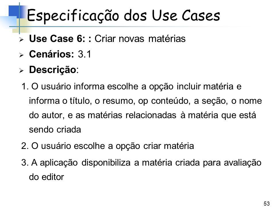 53 Use Case 6: : Criar novas matérias Cenários: 3.1 Descrição: 1. O usuário informa escolhe a opção incluir matéria e informa o título, o resumo, op c