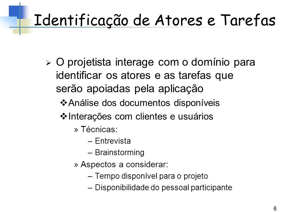 6 Identificação de Atores e Tarefas O projetista interage com o domínio para identificar os atores e as tarefas que serão apoiadas pela aplicação Anál