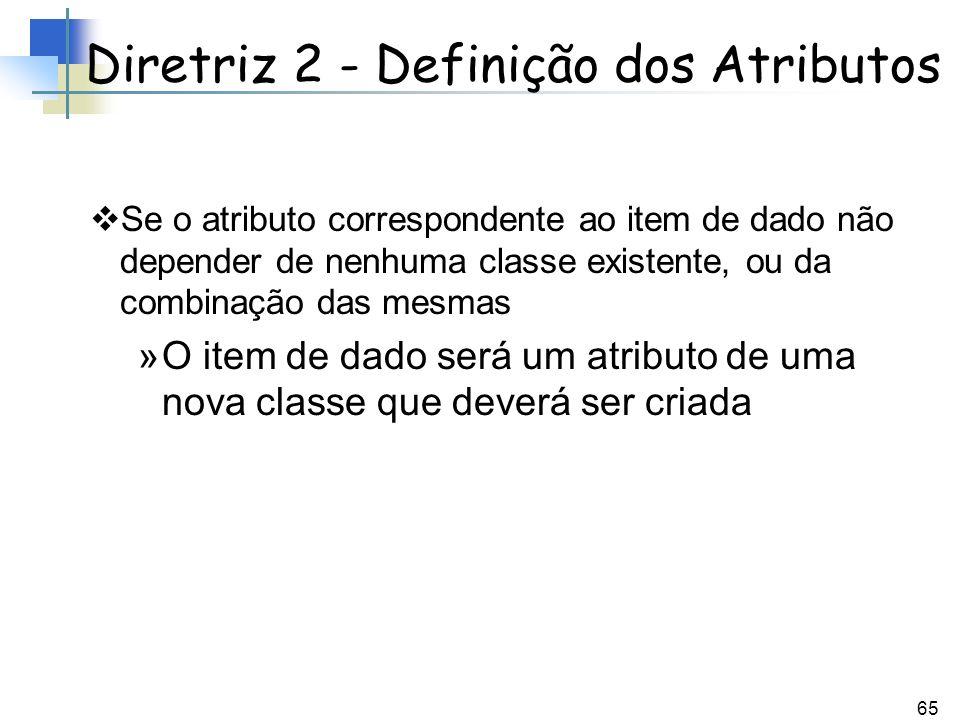 65 Se o atributo correspondente ao item de dado não depender de nenhuma classe existente, ou da combinação das mesmas »O item de dado será um atributo