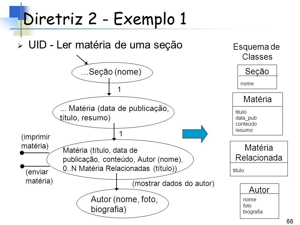 66 UID - Ler matéria de uma seção Diretriz 2 - Exemplo 1...Seção (nome)... Matéria (data de publicação, título, resumo) Matéria (título, data de publi