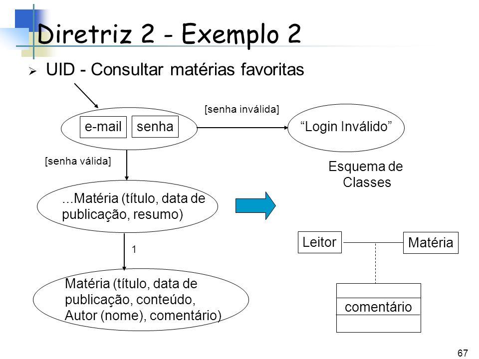 67 UID - Consultar matérias favoritas Diretriz 2 - Exemplo 2...Matéria (título, data de publicação, resumo) senha e-mail Matéria (título, data de publ