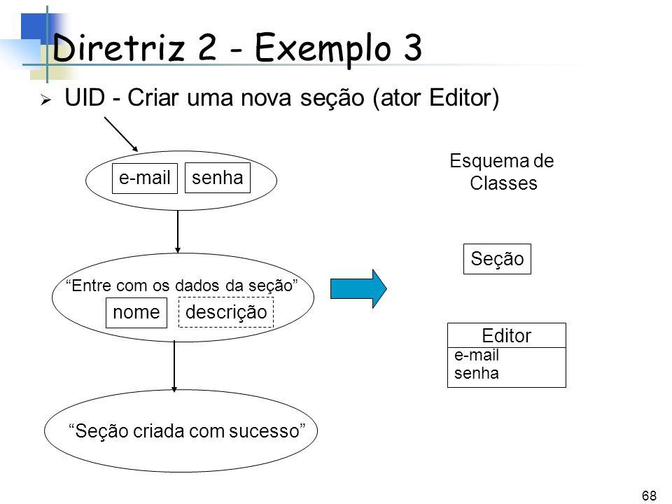 68 UID - Criar uma nova seção (ator Editor) Diretriz 2 - Exemplo 3 Entre com os dados da seção senha e-mail Seção criada com sucesso Esquema de Classe