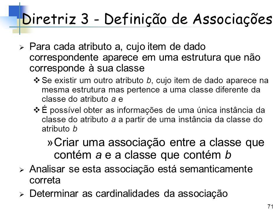 71 Para cada atributo a, cujo item de dado correspondente aparece em uma estrutura que não corresponde à sua classe Se existir um outro atributo b, cu