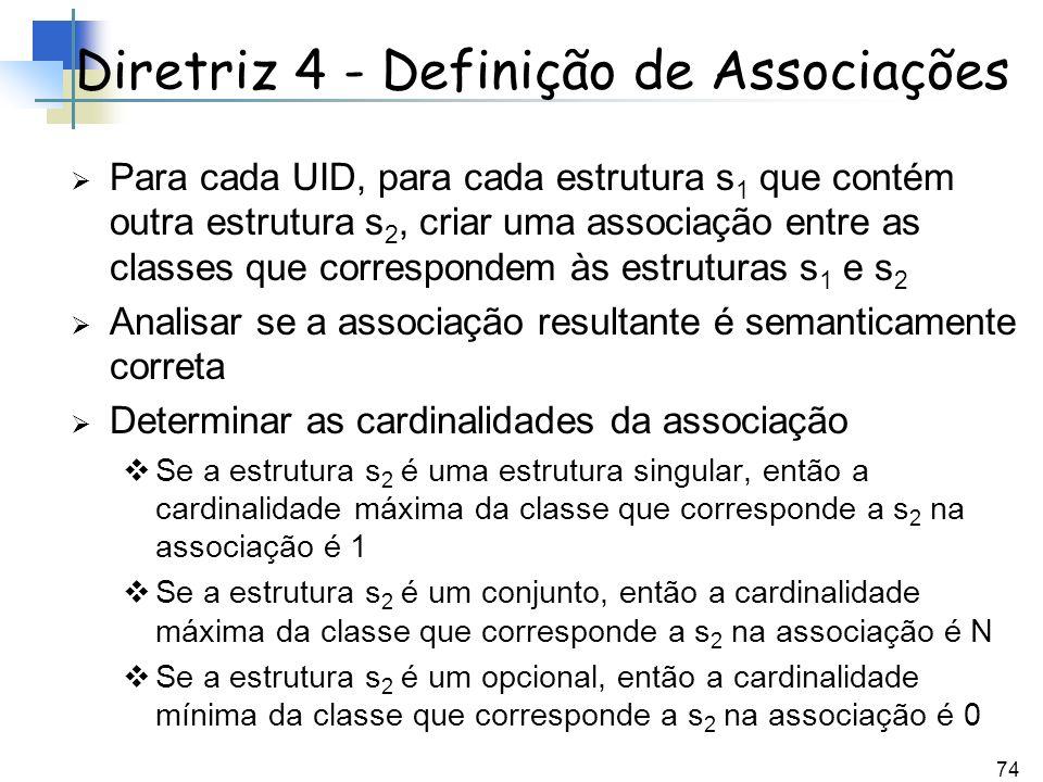 74 Para cada UID, para cada estrutura s 1 que contém outra estrutura s 2, criar uma associação entre as classes que correspondem às estruturas s 1 e s