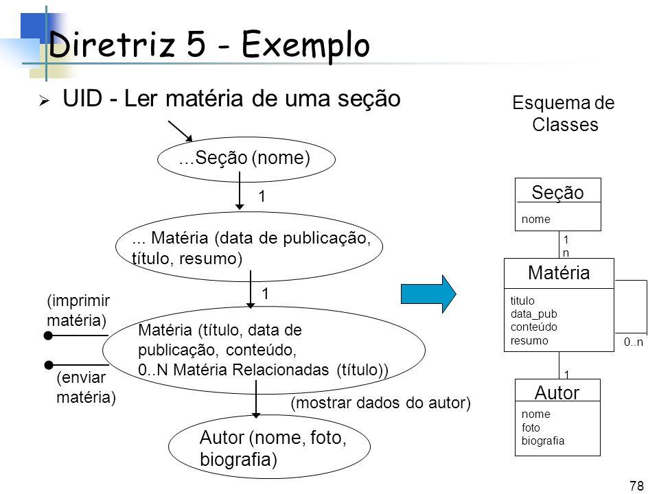 78 Diretriz 5 - Exemplo UID - Ler matéria de uma seção...Seção (nome)... Matéria (data de publicação, título, resumo) Matéria (título, data de publica