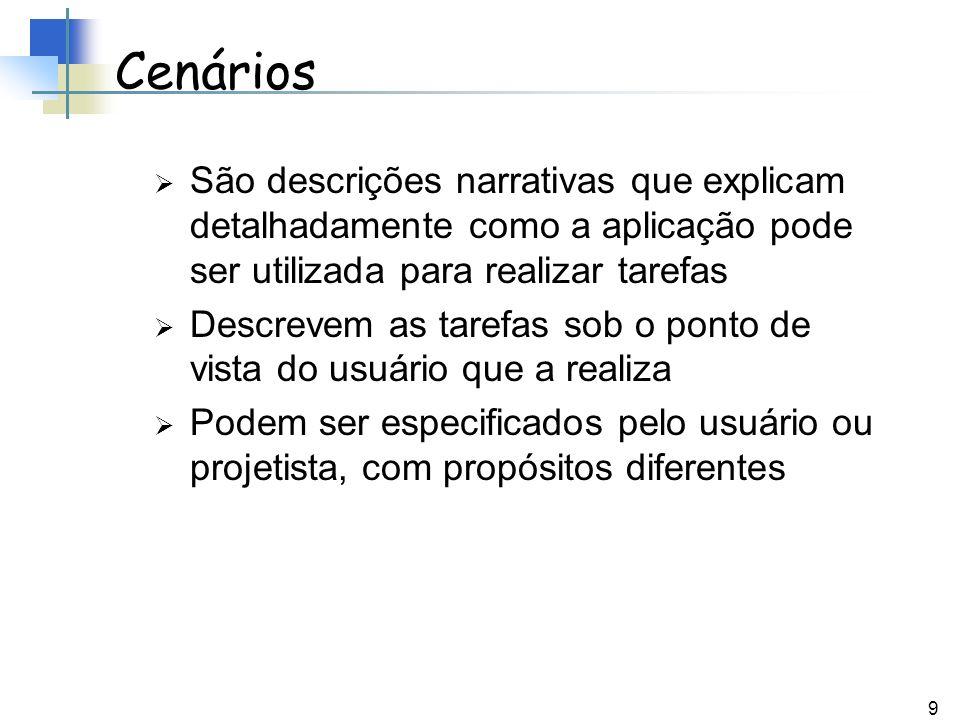 9 Cenários São descrições narrativas que explicam detalhadamente como a aplicação pode ser utilizada para realizar tarefas Descrevem as tarefas sob o