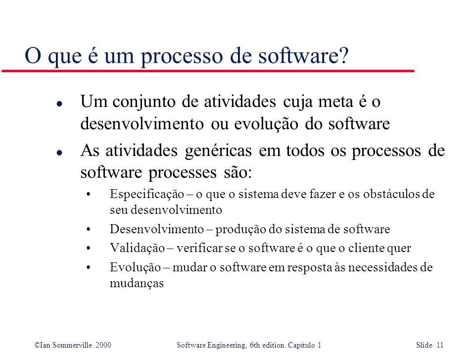 ©Ian Sommerville 2000Software Engineering, 6th edition. Capítulo 1 Slide 11 O que é um processo de software? l Um conjunto de atividades cuja meta é o
