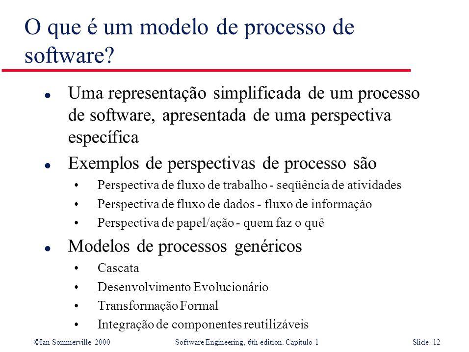 ©Ian Sommerville 2000Software Engineering, 6th edition. Capítulo 1 Slide 12 O que é um modelo de processo de software? l Uma representação simplificad