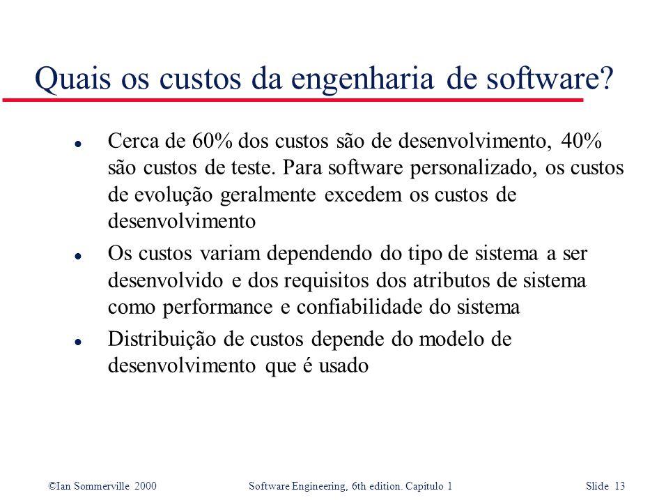 ©Ian Sommerville 2000Software Engineering, 6th edition. Capítulo 1 Slide 13 Quais os custos da engenharia de software? l Cerca de 60% dos custos são d