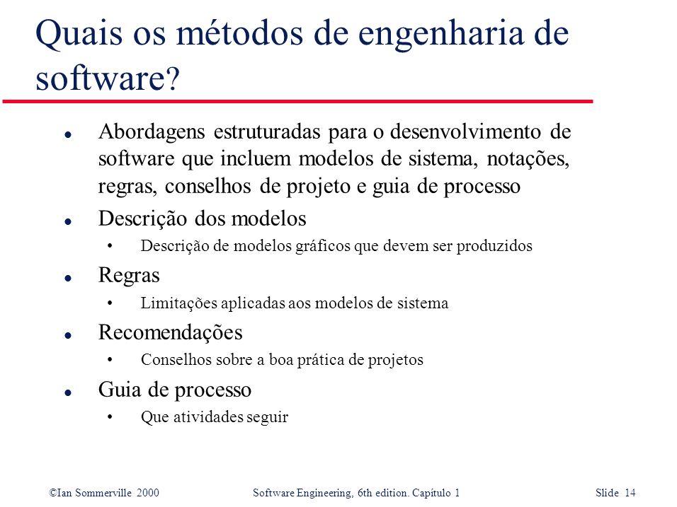 ©Ian Sommerville 2000Software Engineering, 6th edition. Capítulo 1 Slide 14 Quais os métodos de engenharia de software ? l Abordagens estruturadas par