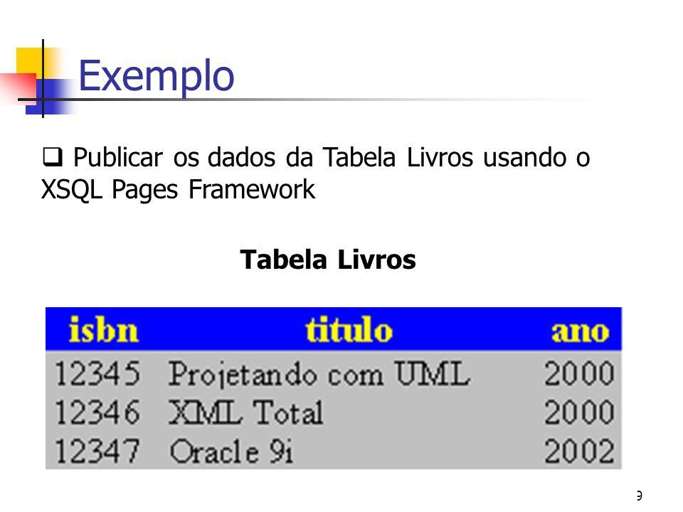 10 Exemplo Select isbn, titulo From Livros exemplo.xsql XSQL Page que retorna o isbn e o titulo de todos os livros