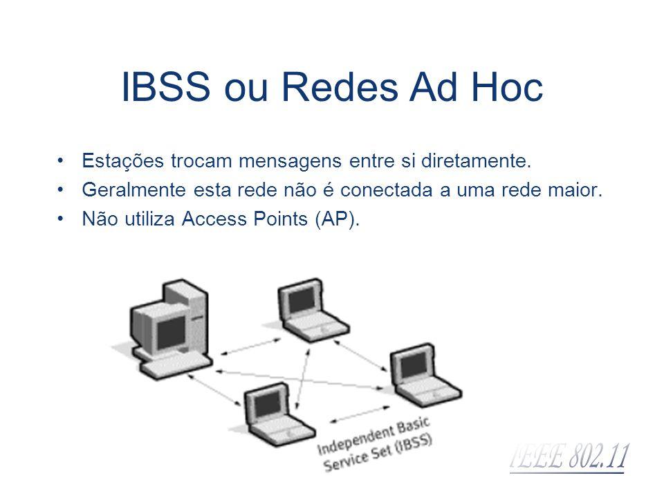IBSS ou Redes Ad Hoc Estações trocam mensagens entre si diretamente. Geralmente esta rede não é conectada a uma rede maior. Não utiliza Access Points