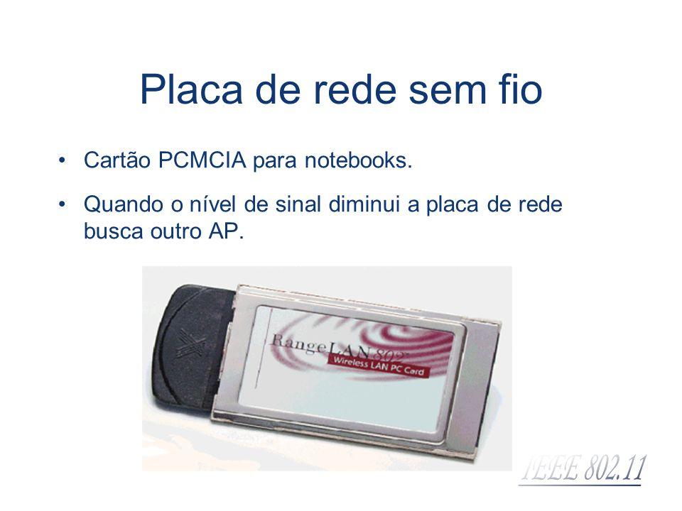 Placa de rede sem fio Cartão PCMCIA para notebooks. Quando o nível de sinal diminui a placa de rede busca outro AP.