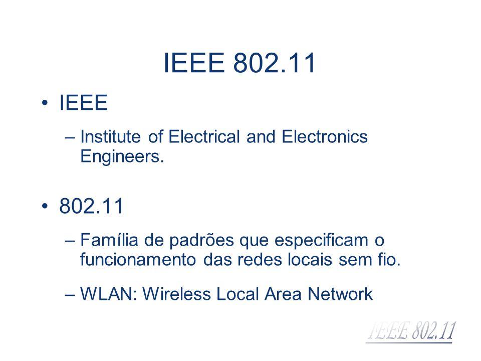IEEE –Institute of Electrical and Electronics Engineers. 802.11 –Família de padrões que especificam o funcionamento das redes locais sem fio. –WLAN: W