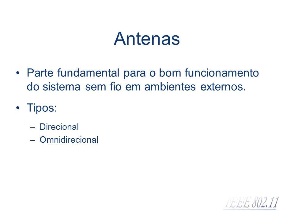 Antenas Parte fundamental para o bom funcionamento do sistema sem fio em ambientes externos. Tipos: –Direcional –Omnidirecional