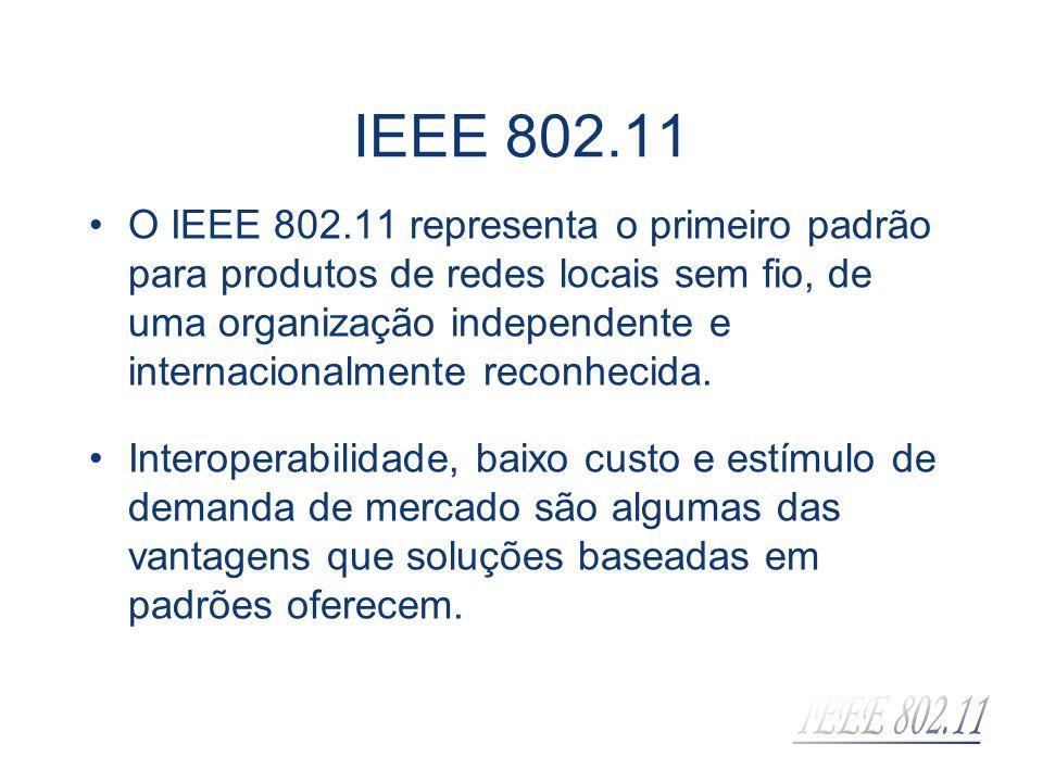 IEEE 802.11 O padrão IEEE 802.11 não especifica tecnologia de implementação, mas simplesmente especificações para as camadas Física e de Controle de Acesso ao Meio.