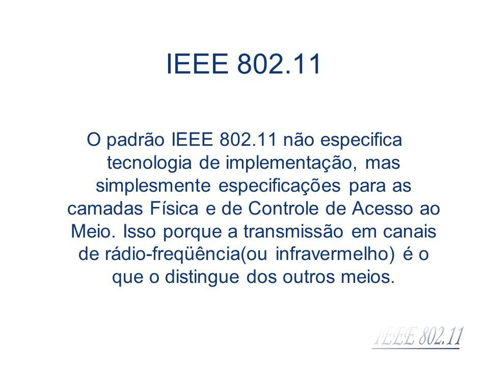 IEEE 802.11 O padrão IEEE 802.11 não especifica tecnologia de implementação, mas simplesmente especificações para as camadas Física e de Controle de A