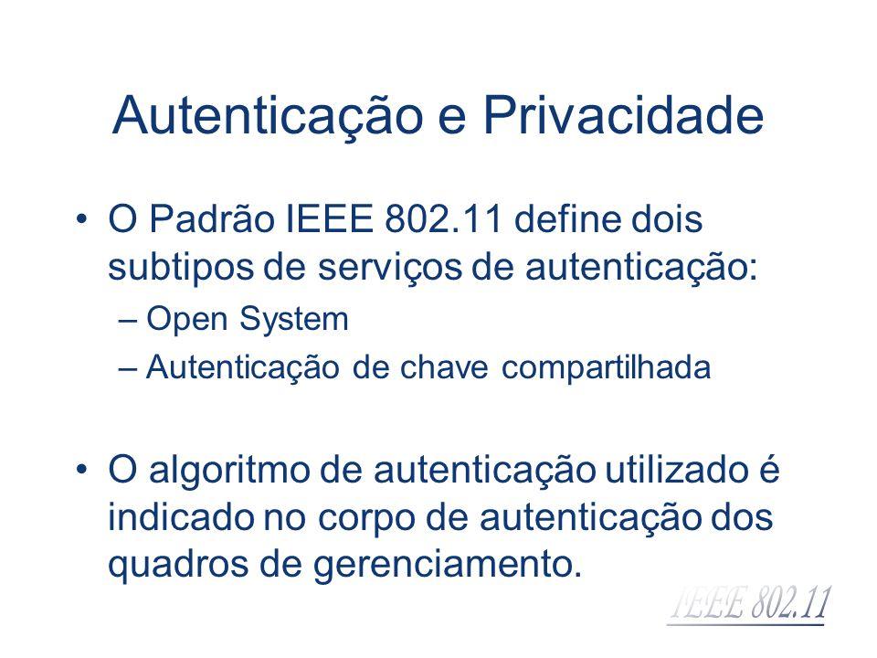 Autenticação e Privacidade O Padrão IEEE 802.11 define dois subtipos de serviços de autenticação: –Open System –Autenticação de chave compartilhada O