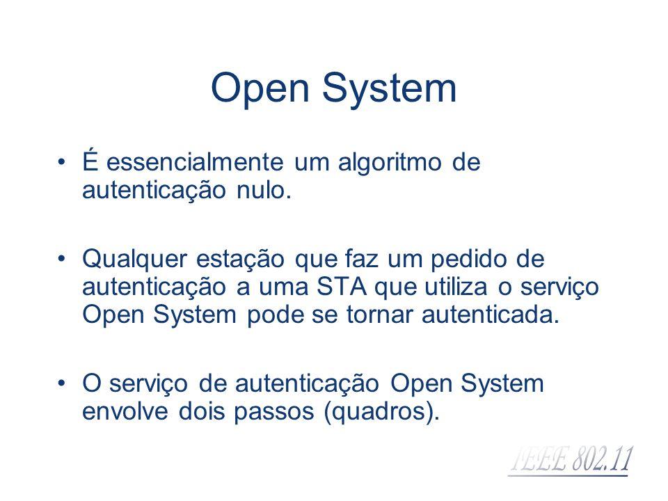 Open System É essencialmente um algoritmo de autenticação nulo. Qualquer estação que faz um pedido de autenticação a uma STA que utiliza o serviço Ope
