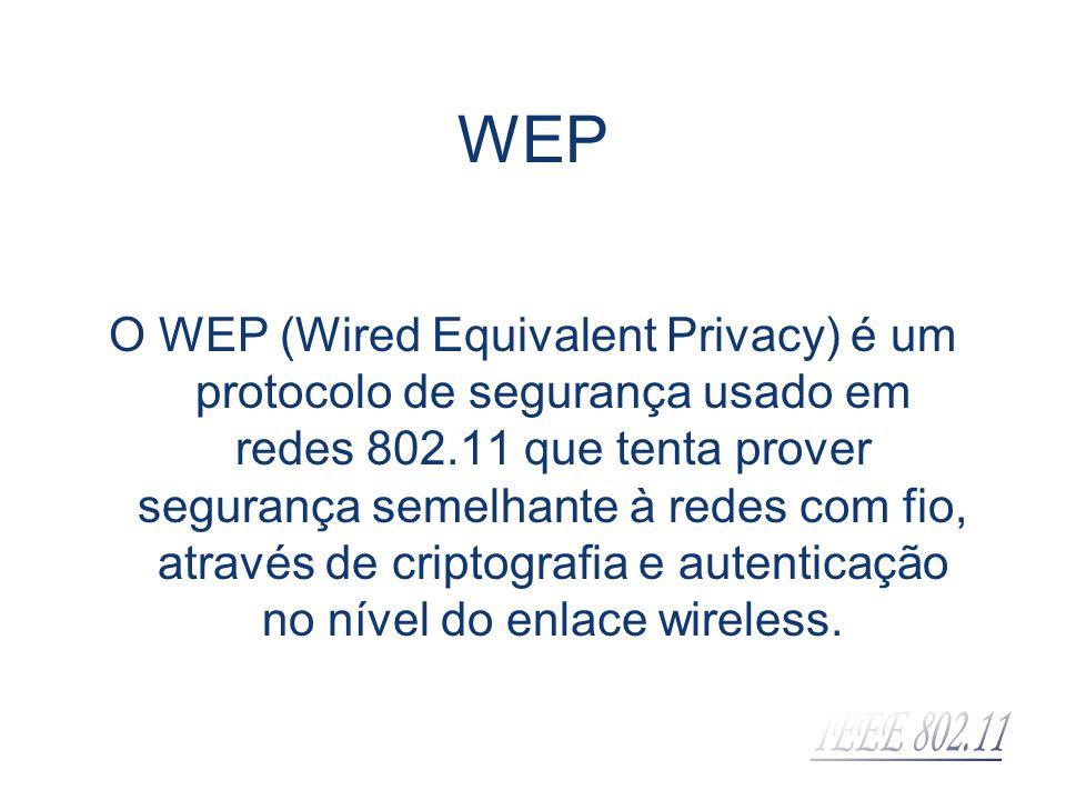 WEP O WEP (Wired Equivalent Privacy) é um protocolo de segurança usado em redes 802.11 que tenta prover segurança semelhante à redes com fio, através