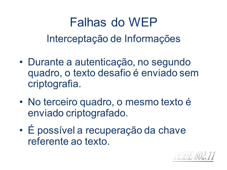Falhas do WEP Interceptação de Informações Durante a autenticação, no segundo quadro, o texto desafio é enviado sem criptografia. No terceiro quadro,