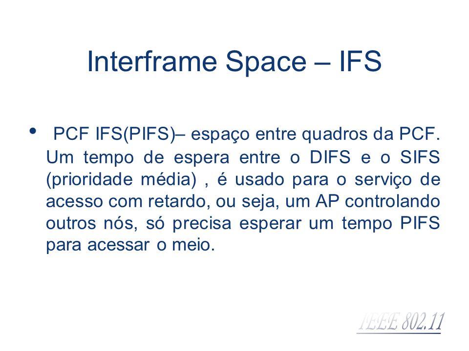 Interframe Space – IFS PCF IFS(PIFS)– espaço entre quadros da PCF. Um tempo de espera entre o DIFS e o SIFS (prioridade média), é usado para o serviço