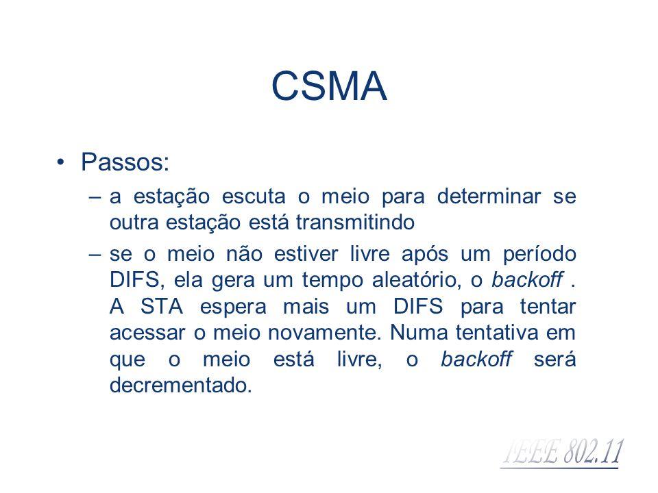 CSMA Passos: –a estação escuta o meio para determinar se outra estação está transmitindo –se o meio não estiver livre após um período DIFS, ela gera u