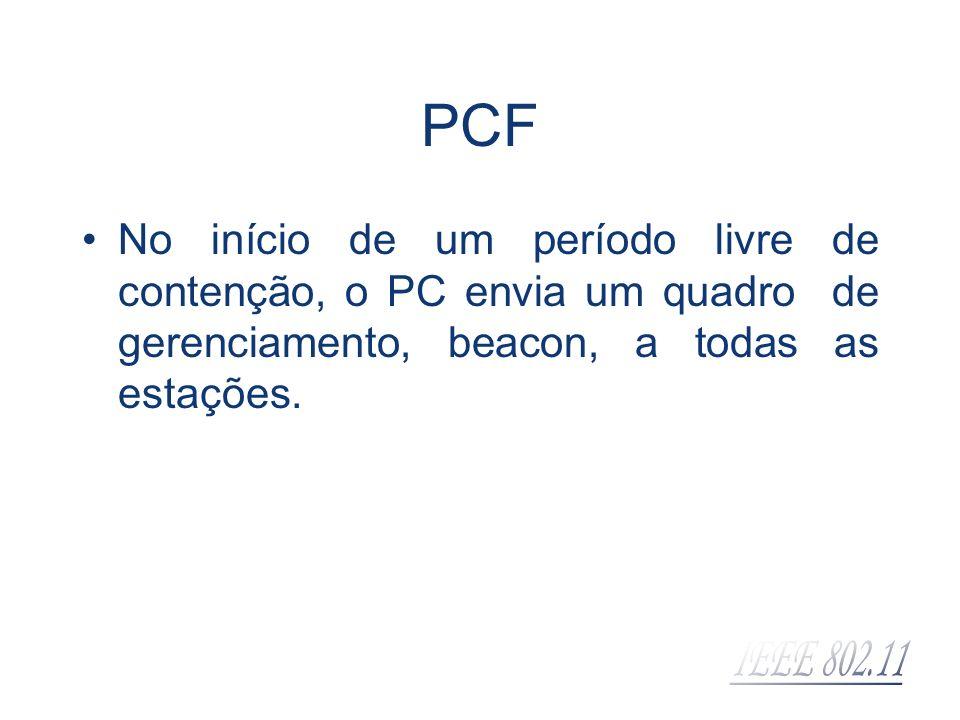 No início de um período livre de contenção, o PC envia um quadro de gerenciamento, beacon, a todas as estações. PCF