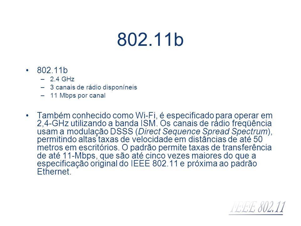802.11b –2.4 GHz –3 canais de rádio disponíneis –11 Mbps por canal Também conhecido como Wi-Fi, é especificado para operar em 2,4-GHz utilizando a ban