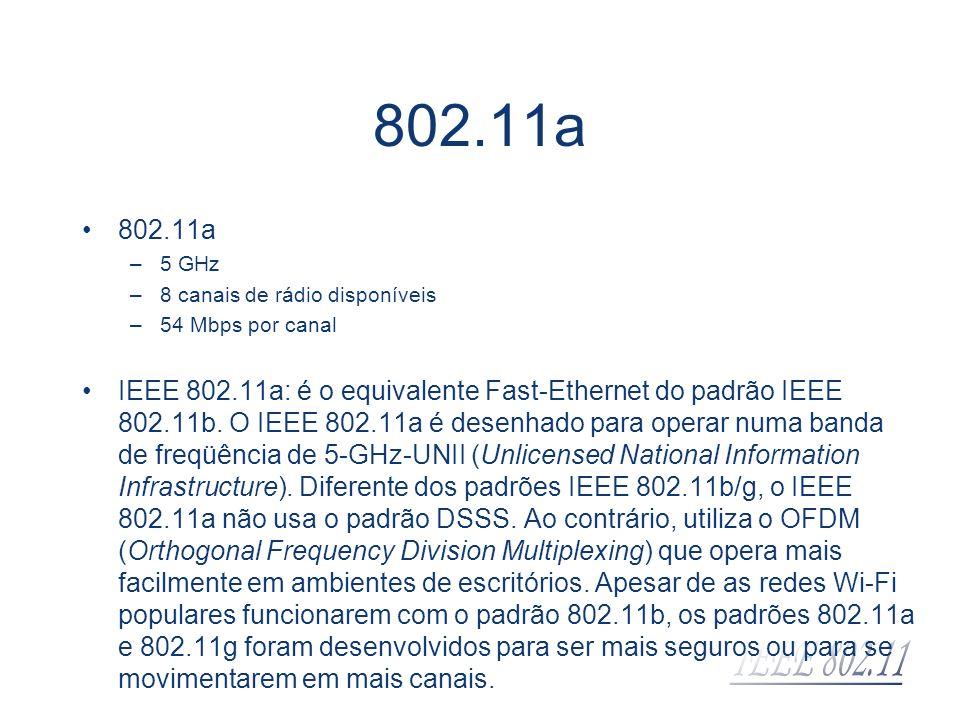 802.11a –5 GHz –8 canais de rádio disponíveis –54 Mbps por canal IEEE 802.11a: é o equivalente Fast-Ethernet do padrão IEEE 802.11b. O IEEE 802.11a é