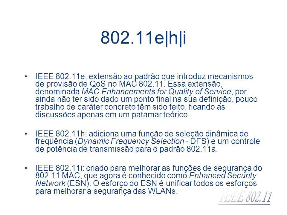 802.11e|h|i IEEE 802.11e: extensão ao padrão que introduz mecanismos de provisão de QoS no MAC 802.11. Essa extensão, denominada MAC Enhancements for