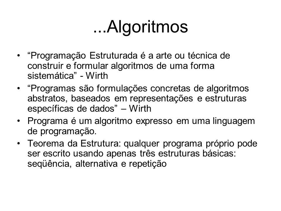 ...Algoritmos Programação Estruturada é a arte ou técnica de construir e formular algoritmos de uma forma sistemática - Wirth Programas são formulaçõe