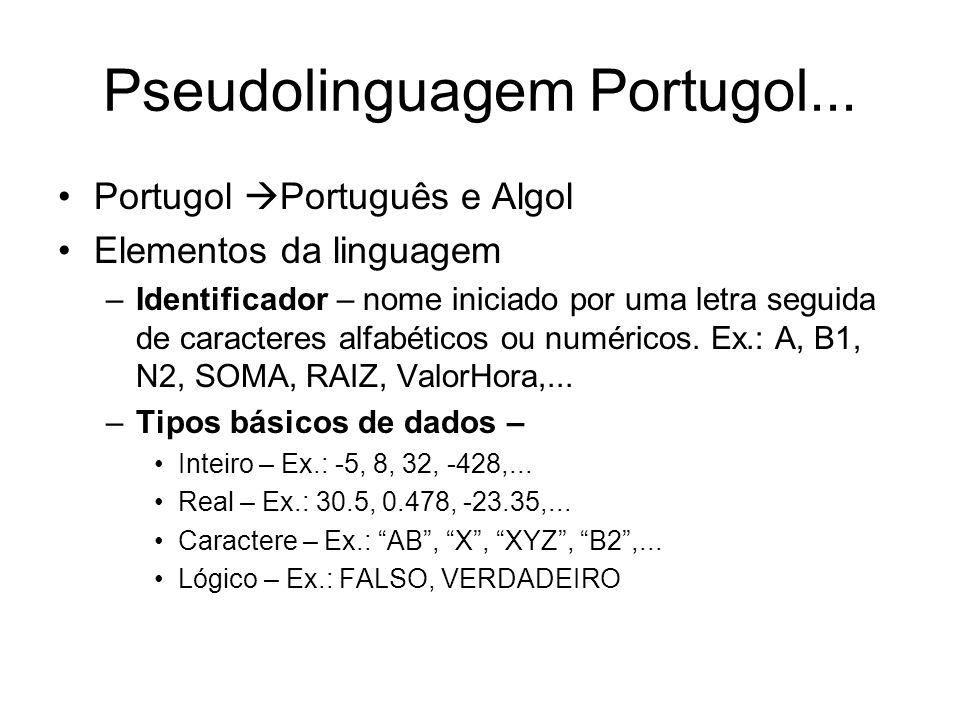 Pseudolinguagem Portugol... Portugol Português e Algol Elementos da linguagem –Identificador – nome iniciado por uma letra seguida de caracteres alfab