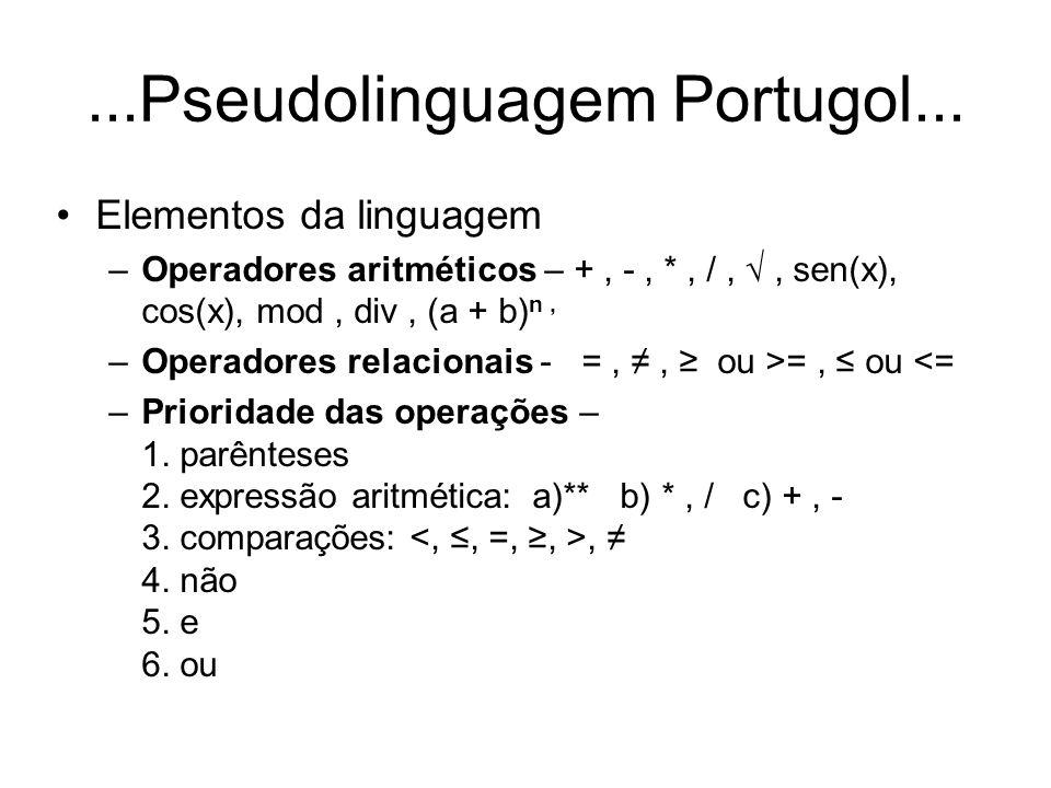 ...Pseudolinguagem Portugol Elementos da linguagem –Entrada – leia (A, B, C); –Saída – imprima (A, B, C); –Exemplo de algoritmo em Portugol: inicio |inteiro: A, B; |A 1; | B 2; |se A > B então A 5; | | senão A 10; | fim se; fim.
