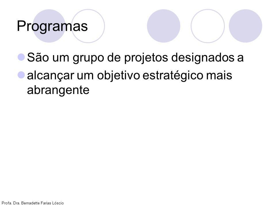 Profa. Dra. Bernadette Farias Lóscio Programas São um grupo de projetos designados a alcançar um objetivo estratégico mais abrangente