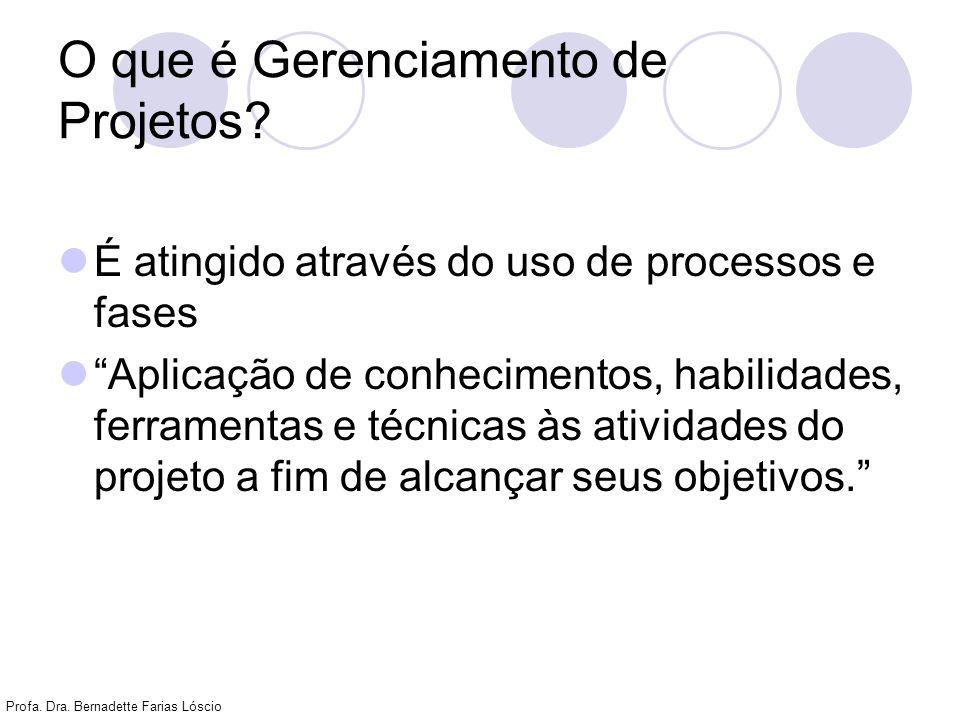 Profa. Dra. Bernadette Farias Lóscio O que é Gerenciamento de Projetos? É atingido através do uso de processos e fases Aplicação de conhecimentos, hab