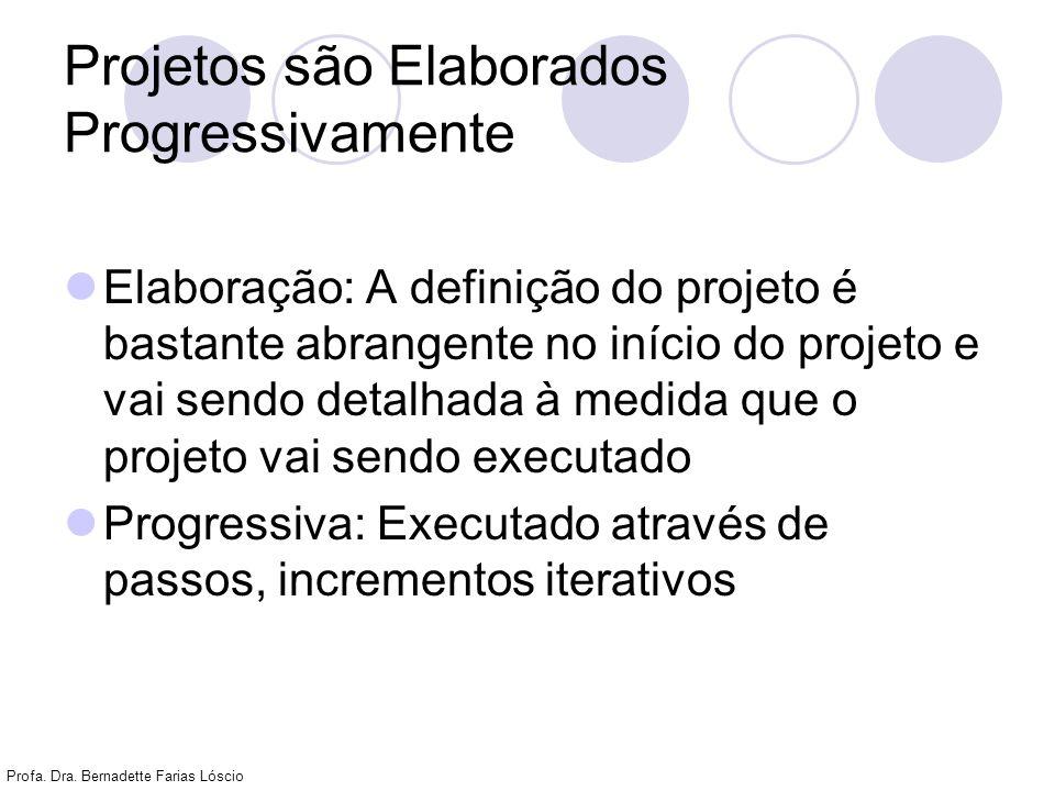 Profa. Dra. Bernadette Farias Lóscio Projetos são Elaborados Progressivamente Elaboração: A definição do projeto é bastante abrangente no início do pr